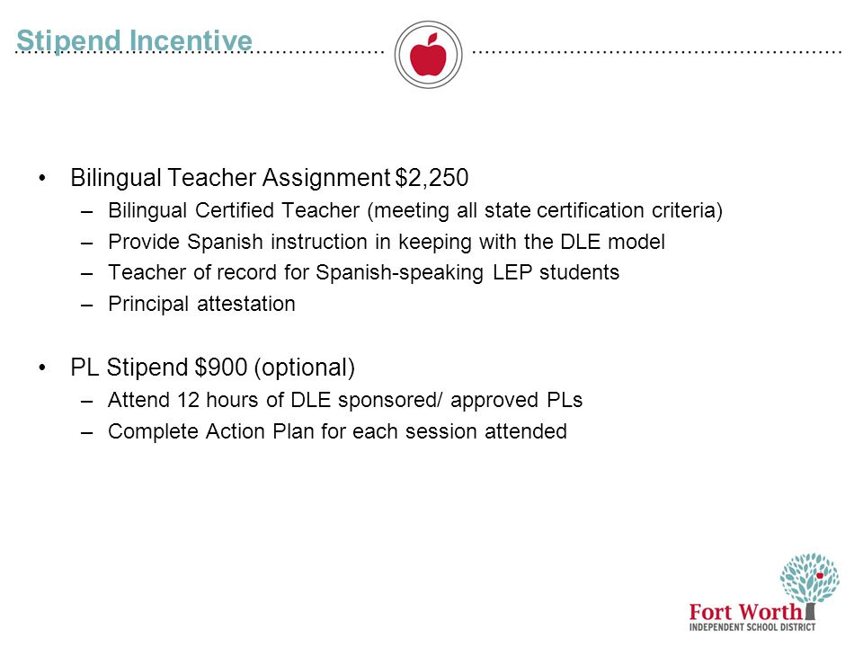 Stipend Incentive Bilingual Teacher Assignment $2,250