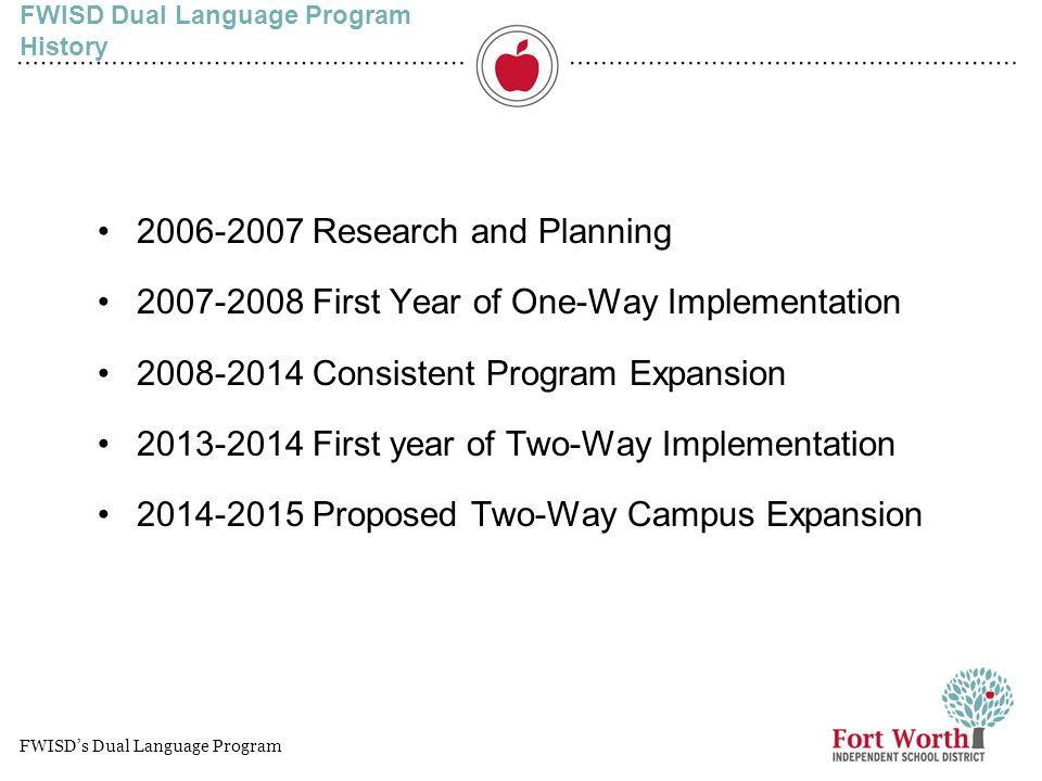 FWISD Dual Language Program History