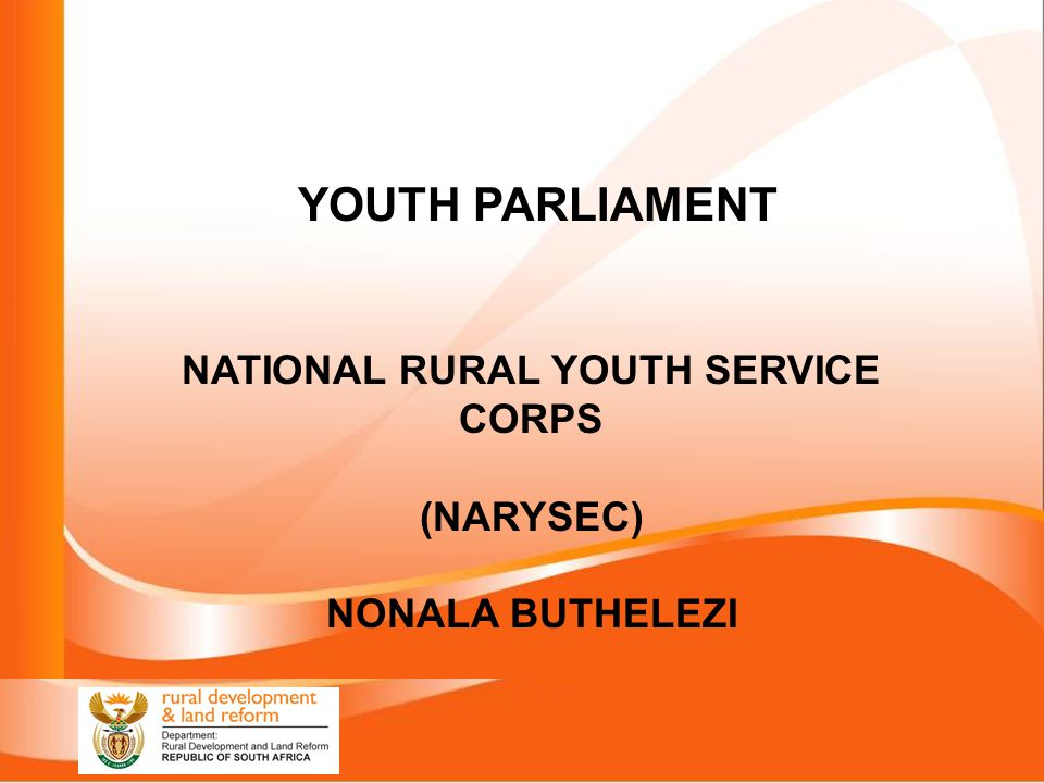 NATIONAL RURAL YOUTH SERVICE CORPS