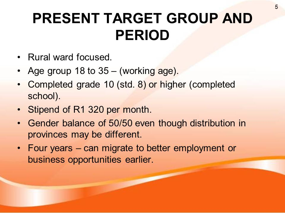 PRESENT TARGET GROUP AND PERIOD