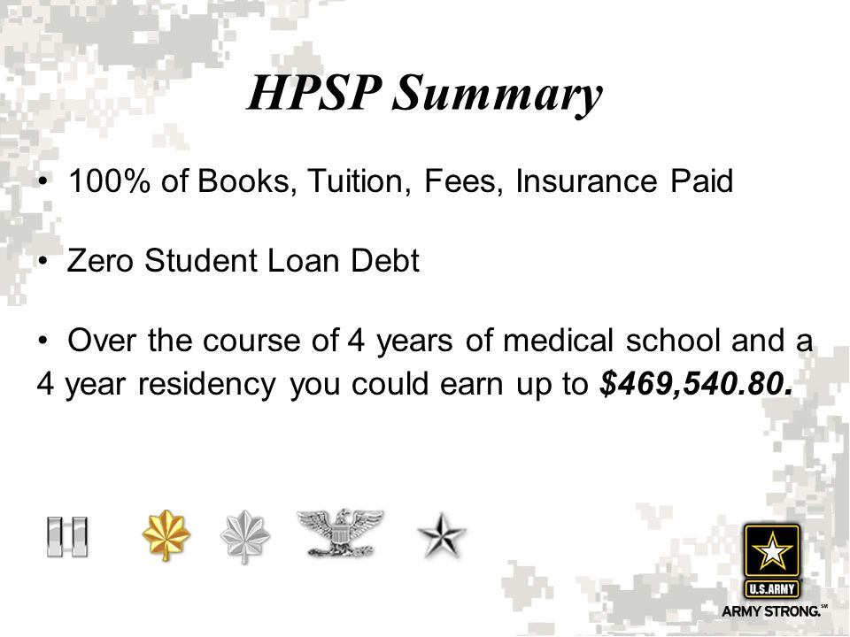 HPSP Summary 100% of Books, Tuition, Fees, Insurance Paid