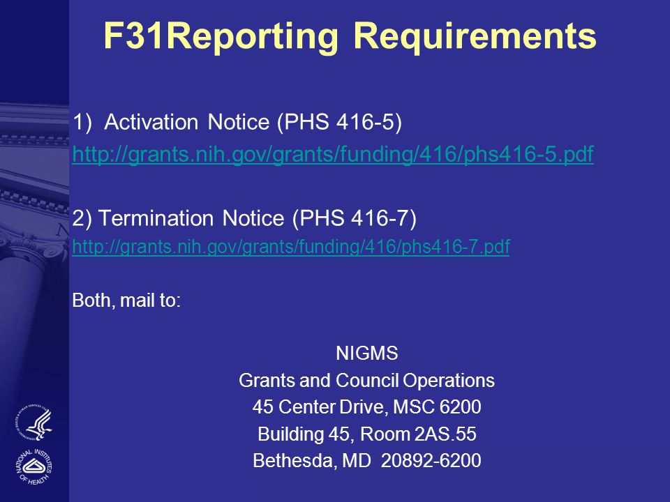 F31Reporting Requirements