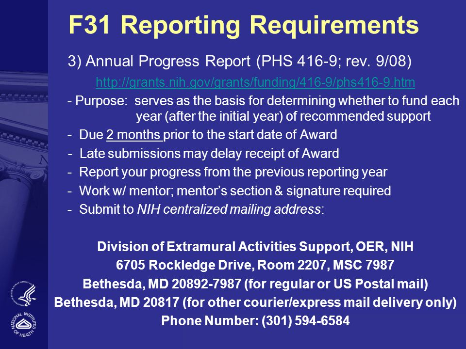 F31 Reporting Requirements