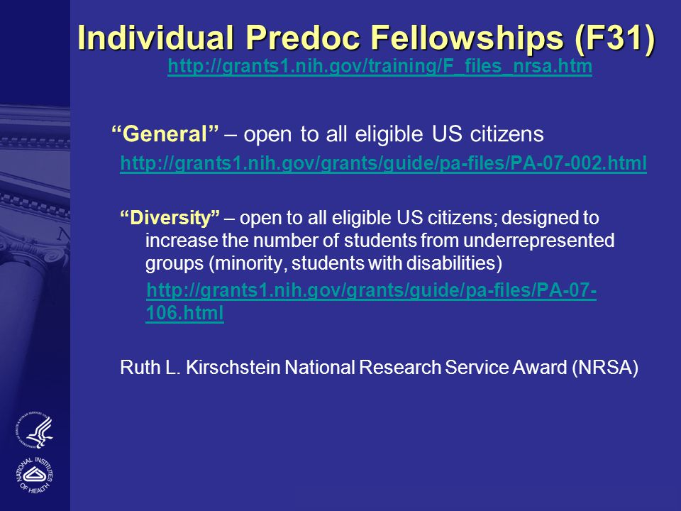 Individual Predoc Fellowships (F31)