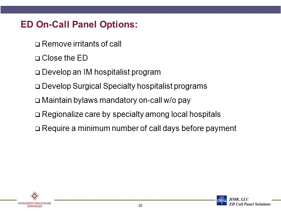 ED On-Call Panel Options (cont'd):