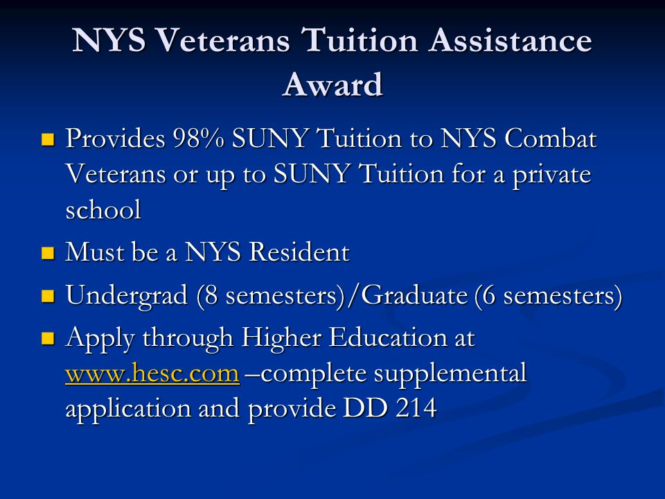 NYS Veterans Tuition Assistance Award