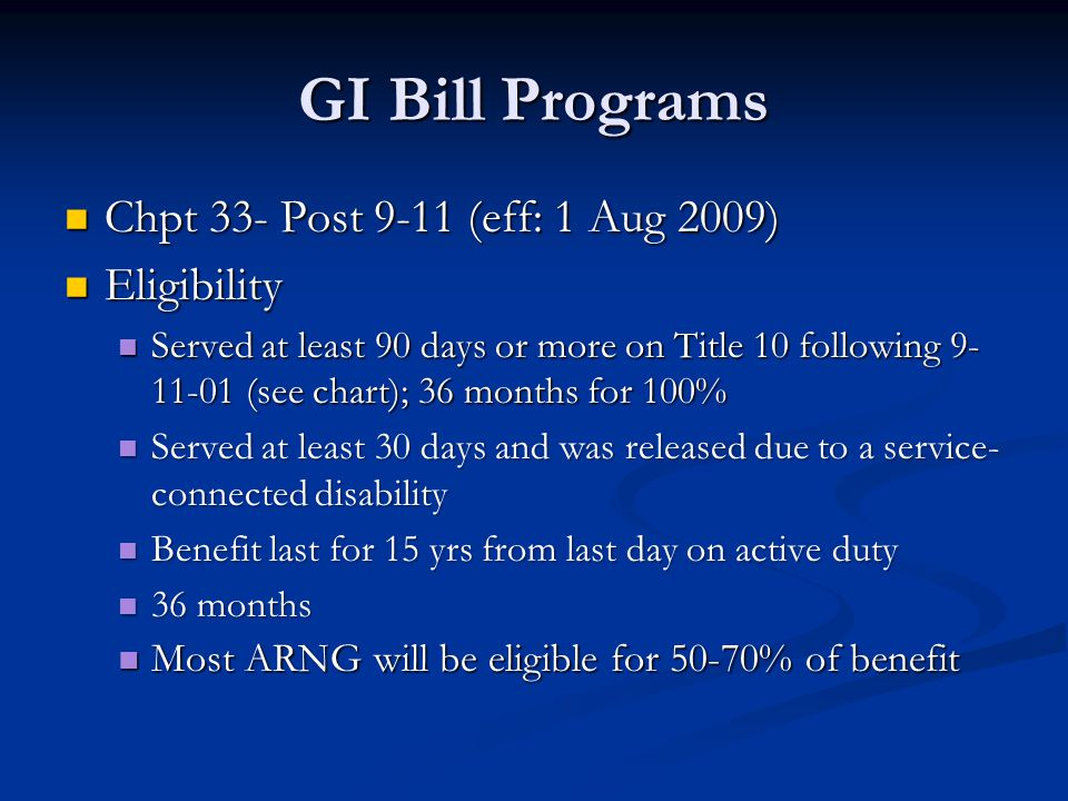 GI Bill Programs Chpt 33- Post 9-11 (eff: 1 Aug 2009) Eligibility