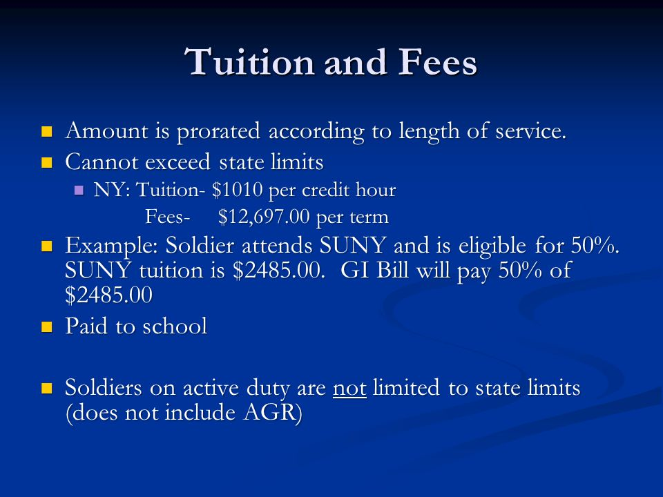 Tuition and Fees Amount is prorated according to length of service.