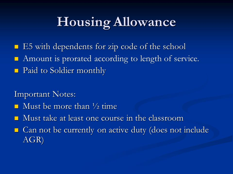 Housing Allowance E5 with dependents for zip code of the school