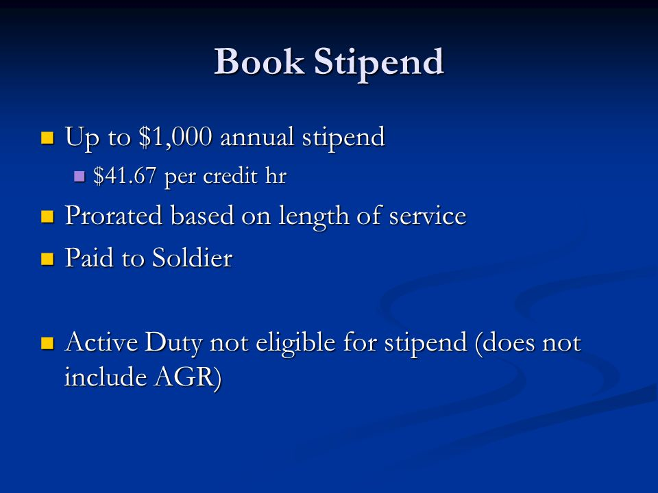 Book Stipend Up to $1,000 annual stipend