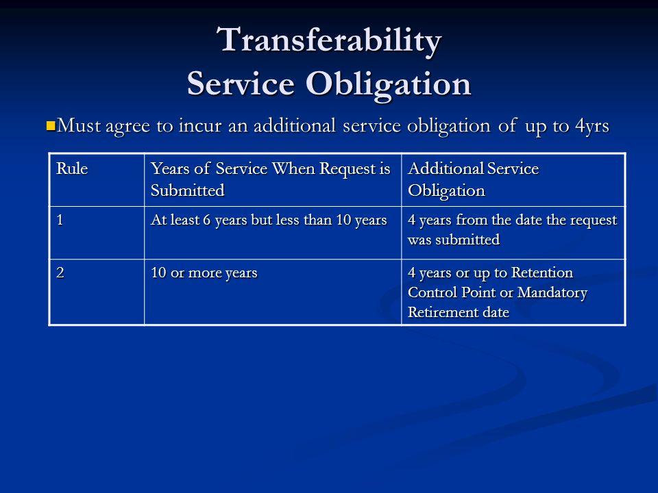 Transferability Service Obligation