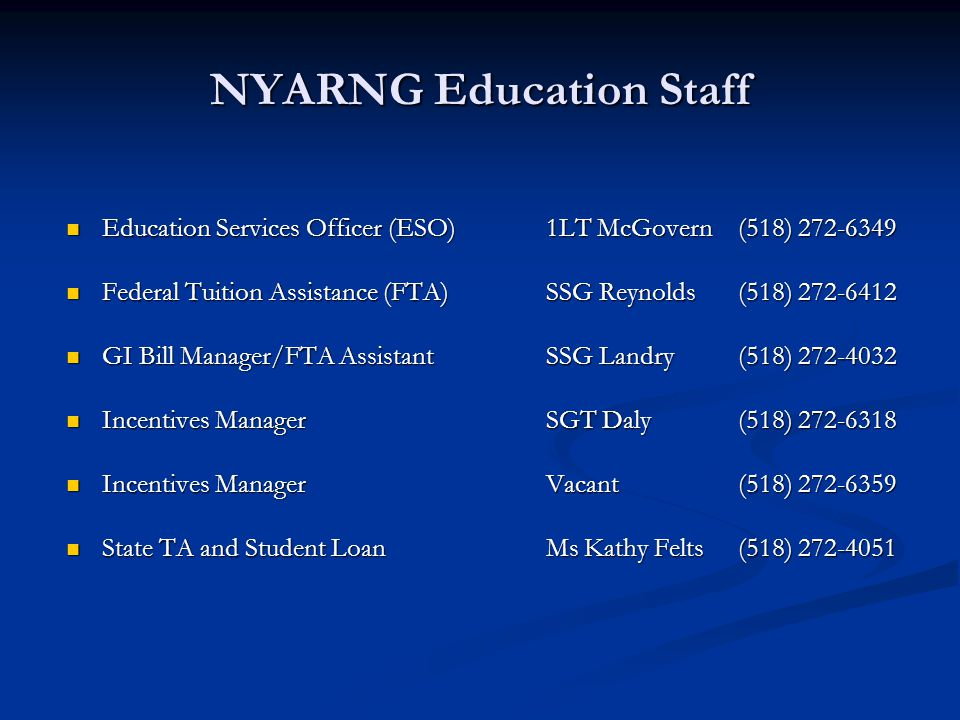 NYARNG Education Staff