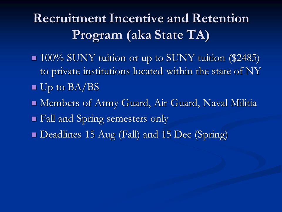 Recruitment Incentive and Retention Program (aka State TA)