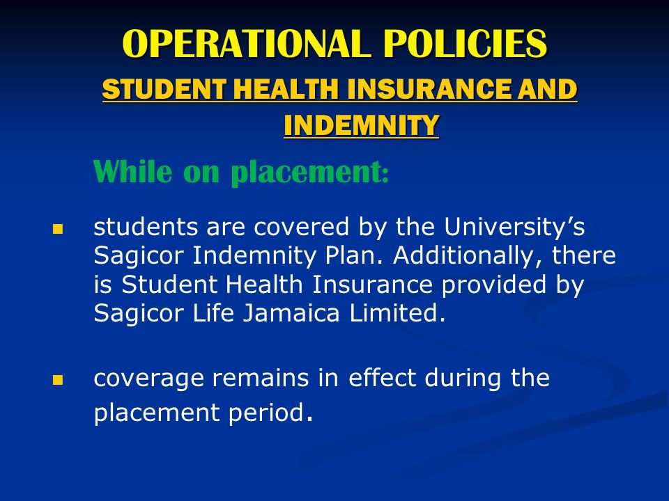 STUDENT HEALTH INSURANCE AND INDEMNITY