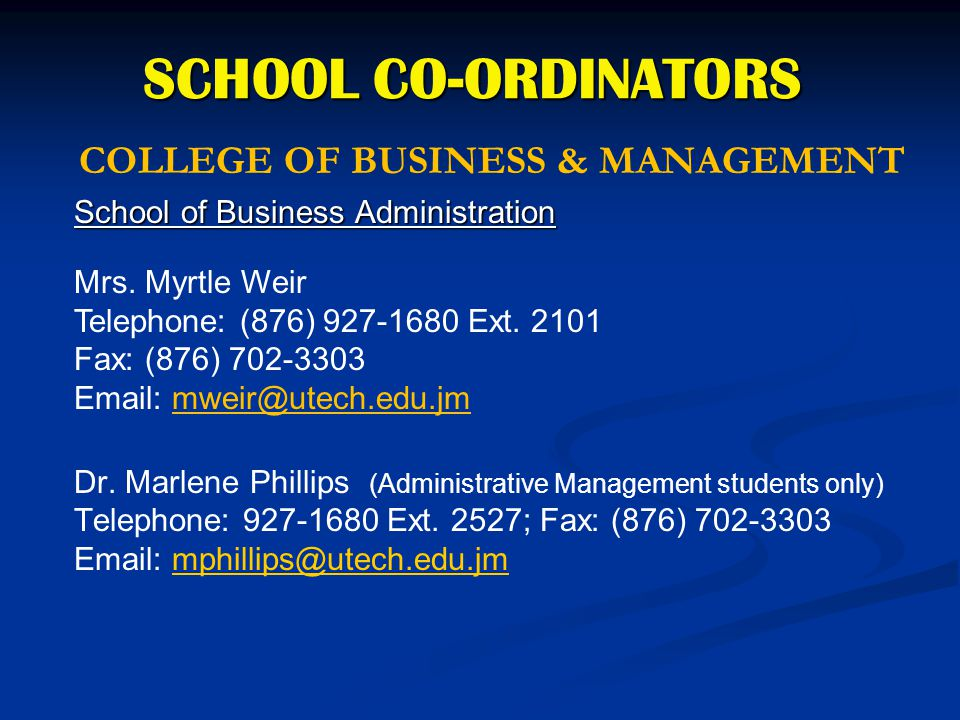 COLLEGE OF BUSINESS & MANAGEMENT