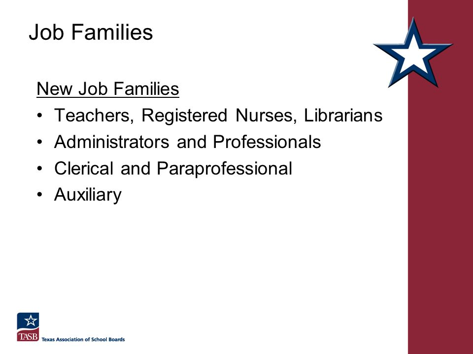 Job Families New Job Families Teachers, Registered Nurses, Librarians