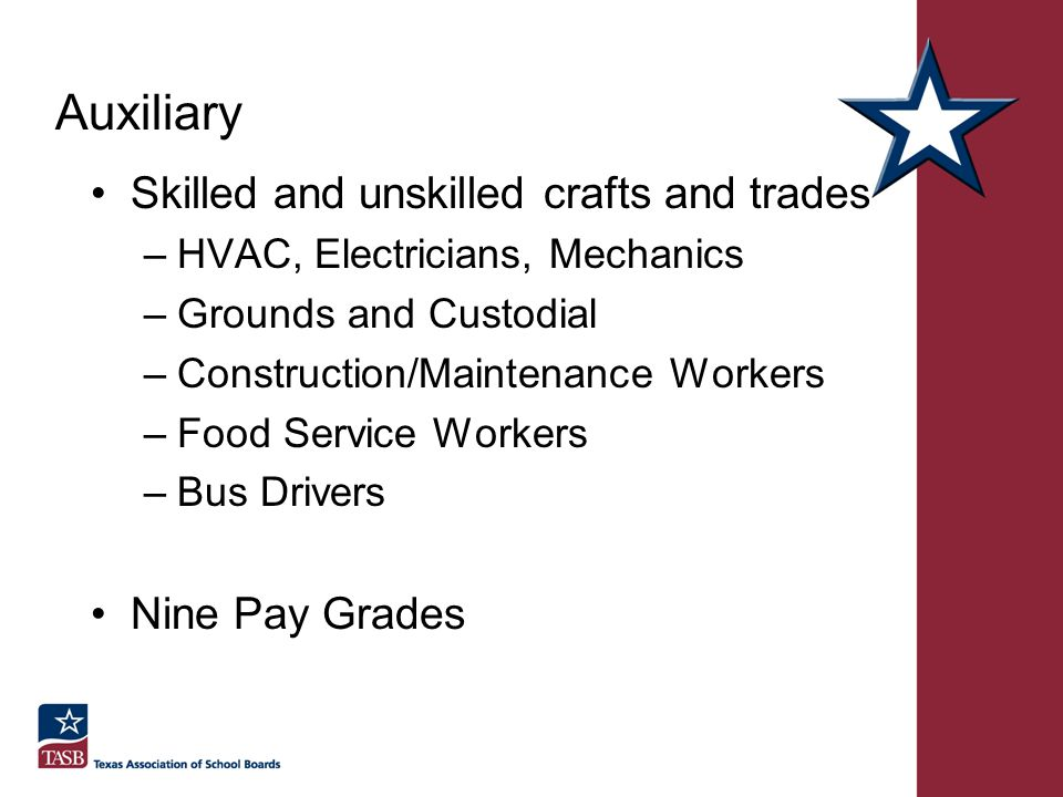 Auxiliary Skilled and unskilled crafts and trades Nine Pay Grades