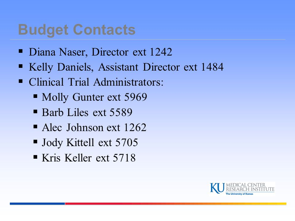 Budget Contacts Diana Naser, Director ext 1242