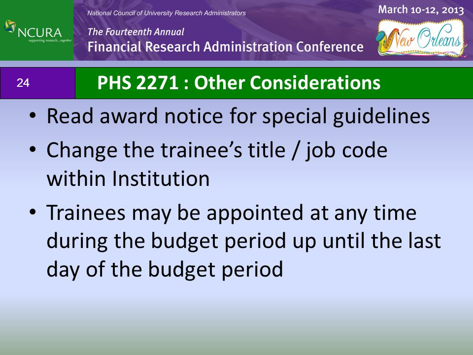 PHS 2271 : Other Considerations