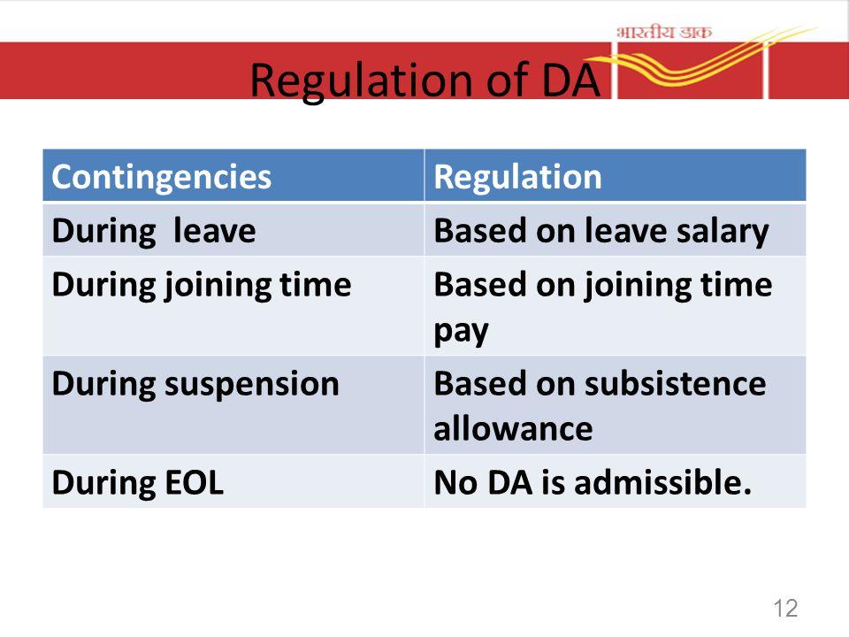Regulation of DA Contingencies Regulation During leave