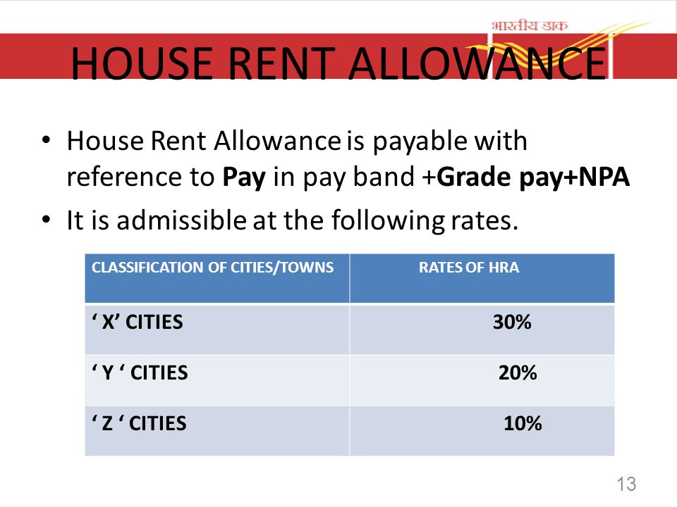 HOUSE RENT ALLOWANCE House Rent Allowance is payable with reference to Pay in pay band +Grade pay+NPA.