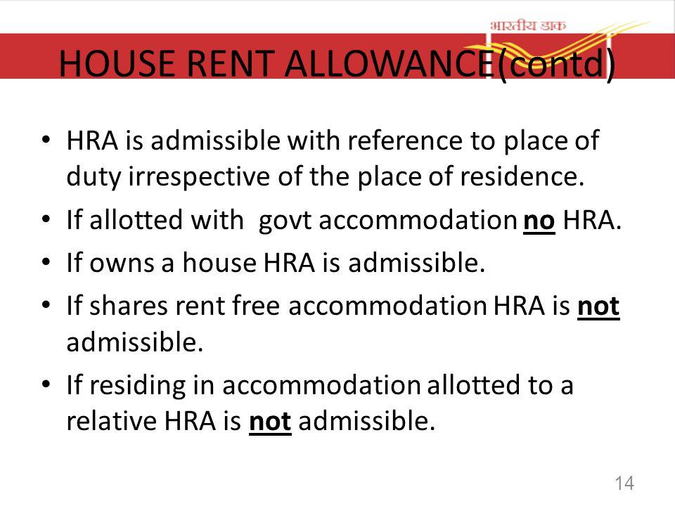 HOUSE RENT ALLOWANCE(contd)