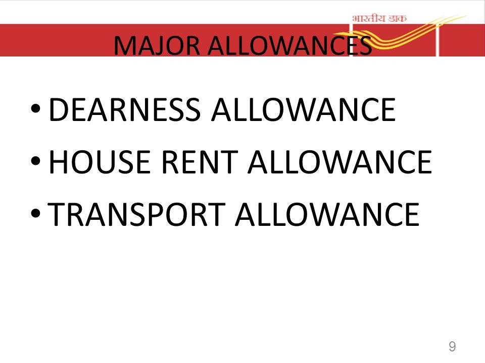 DEARNESS ALLOWANCE HOUSE RENT ALLOWANCE TRANSPORT ALLOWANCE