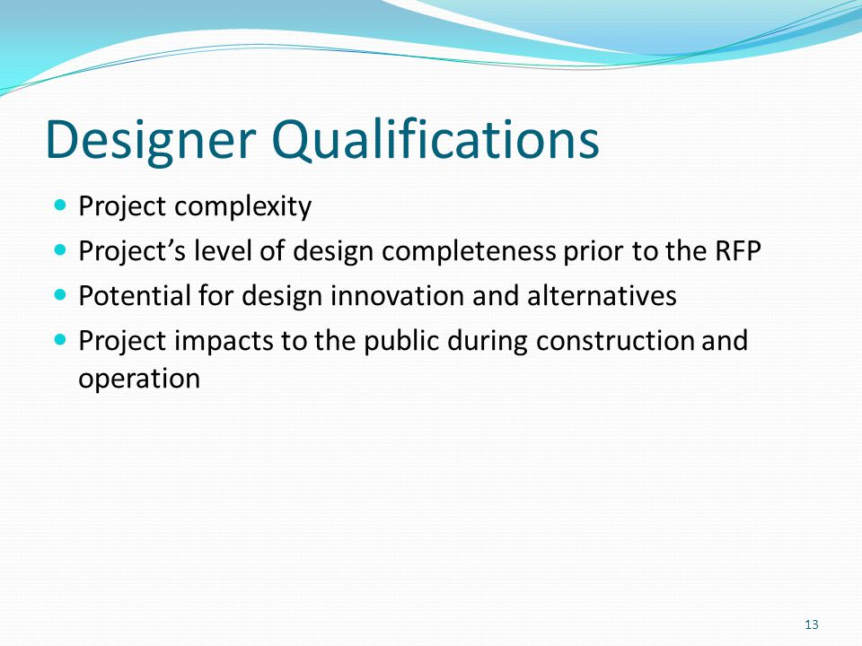 Designer Qualifications
