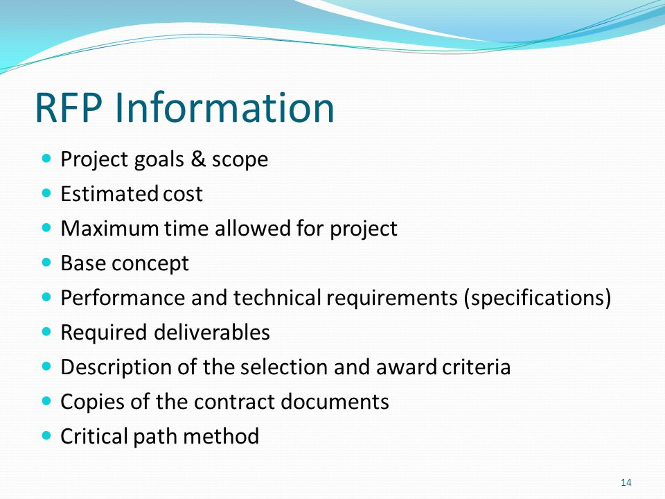 RFP Information Project goals & scope Estimated cost