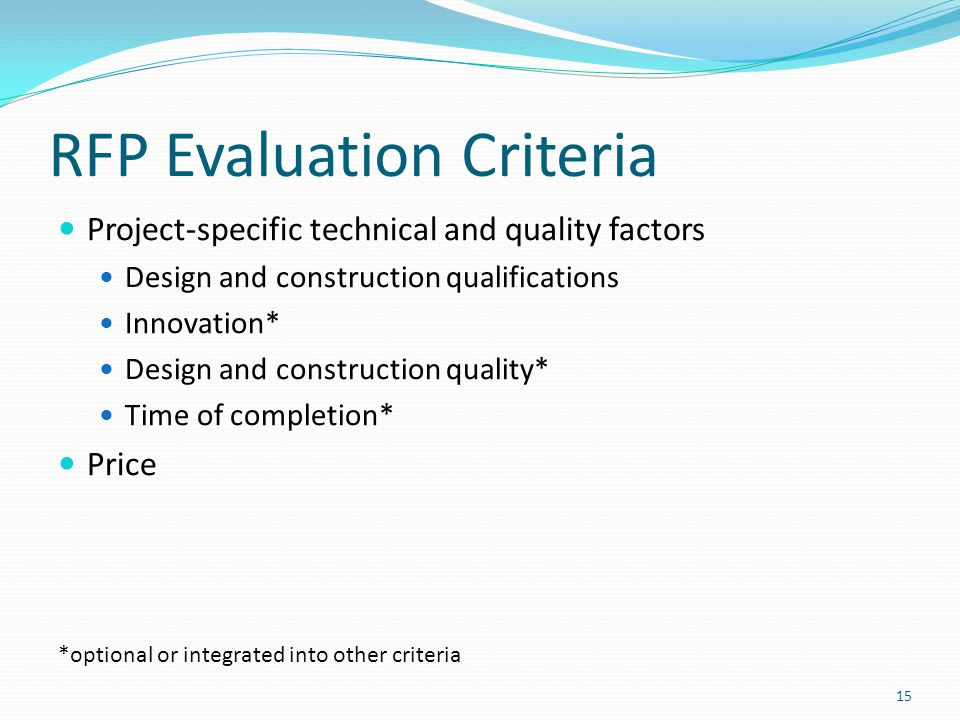RFP Evaluation Criteria