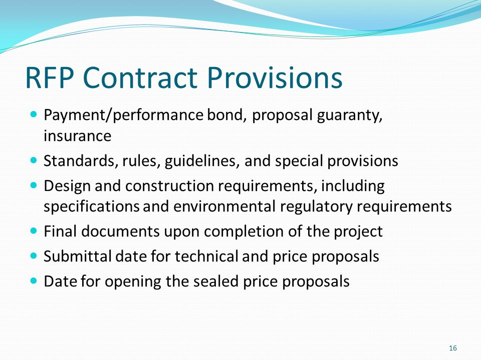 RFP Contract Provisions