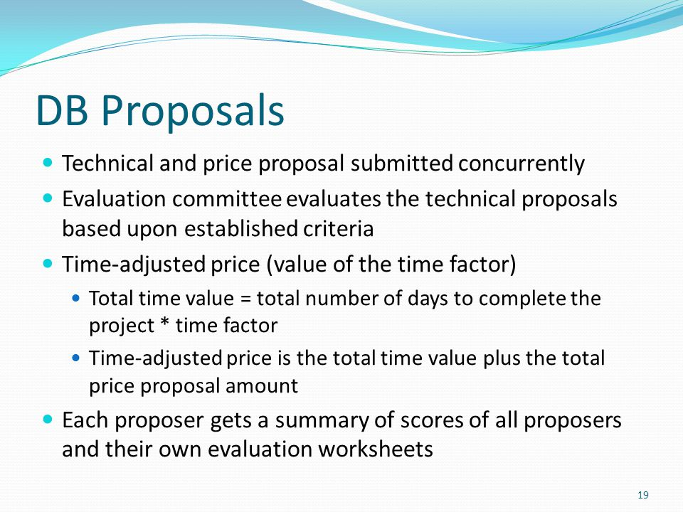 DB Proposals Technical and price proposal submitted concurrently