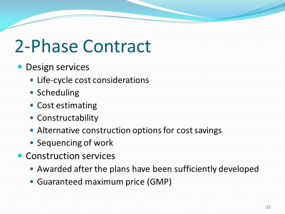 2-Phase Contract Design services Construction services