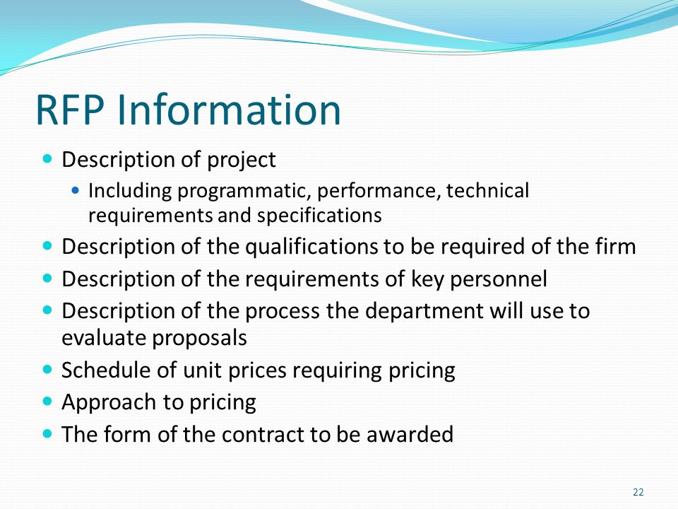 RFP Information Description of project