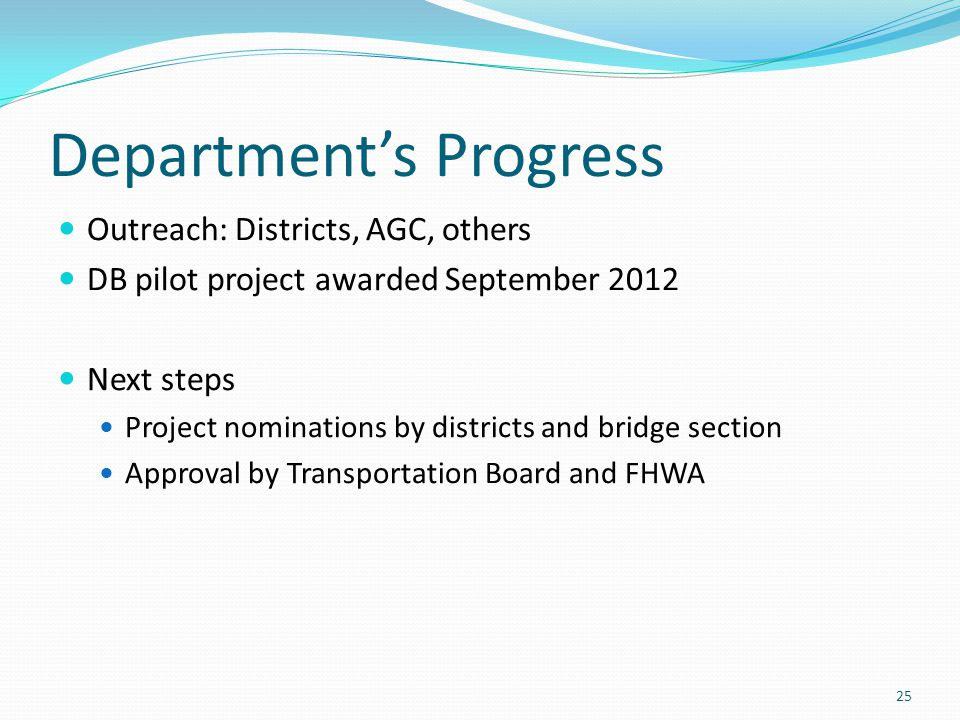 Department's Progress