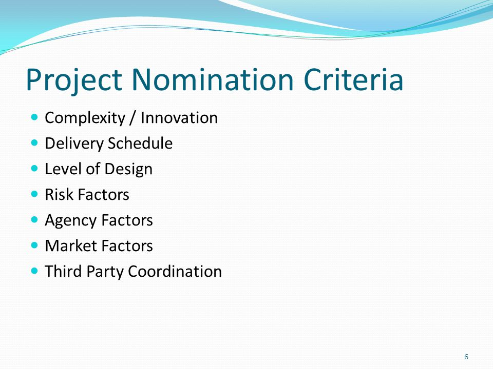 Project Nomination Criteria