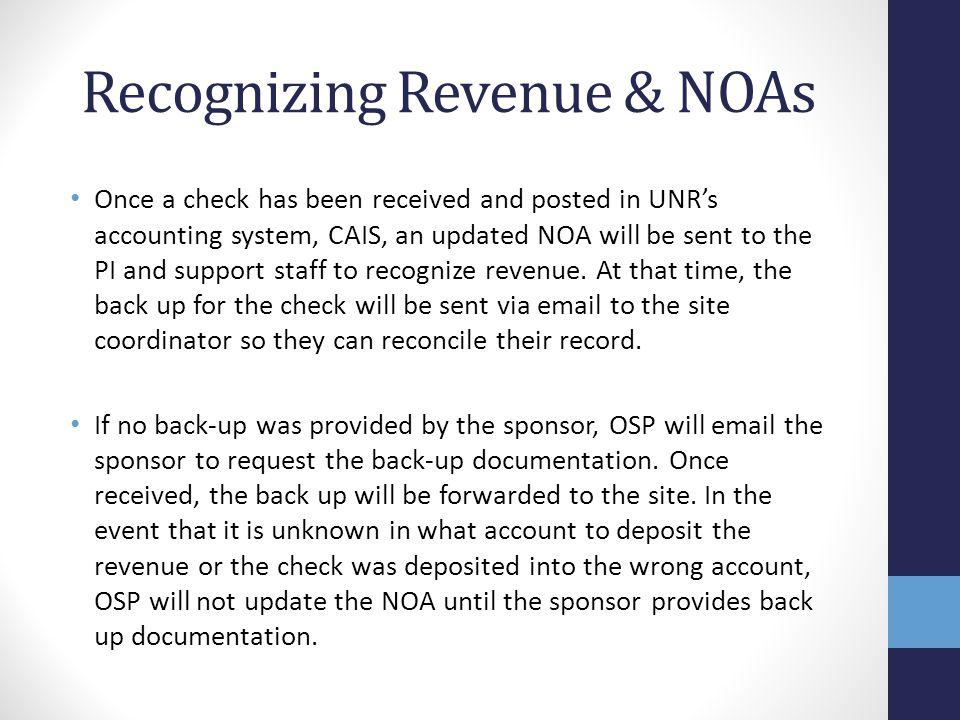 Recognizing Revenue & NOAs