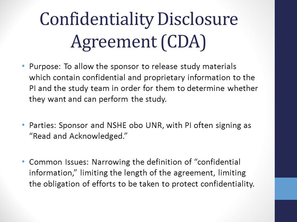 Confidentiality Disclosure Agreement (CDA)