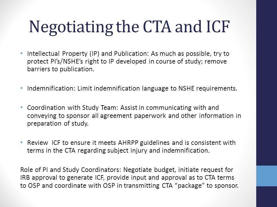 Negotiating the CTA and ICF