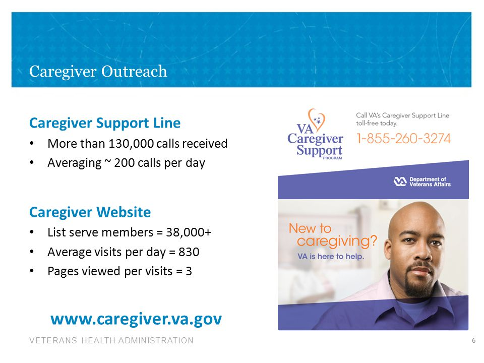 www.caregiver.va.gov Caregiver Outreach Caregiver Support Line