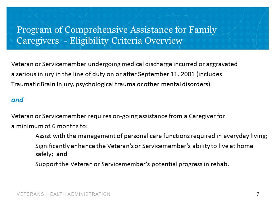 Program of Comprehensive Assistance for Family Caregivers - Eligibility Criteria Overview
