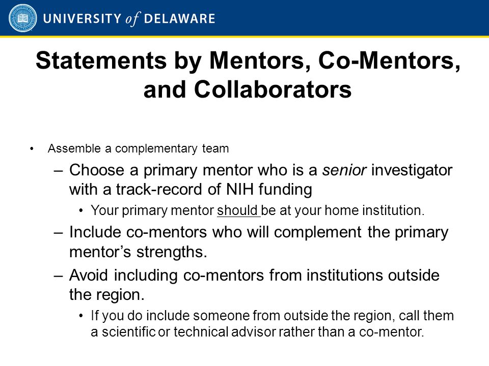 Statements by Mentors, Co-Mentors, and Collaborators (Cont'd)