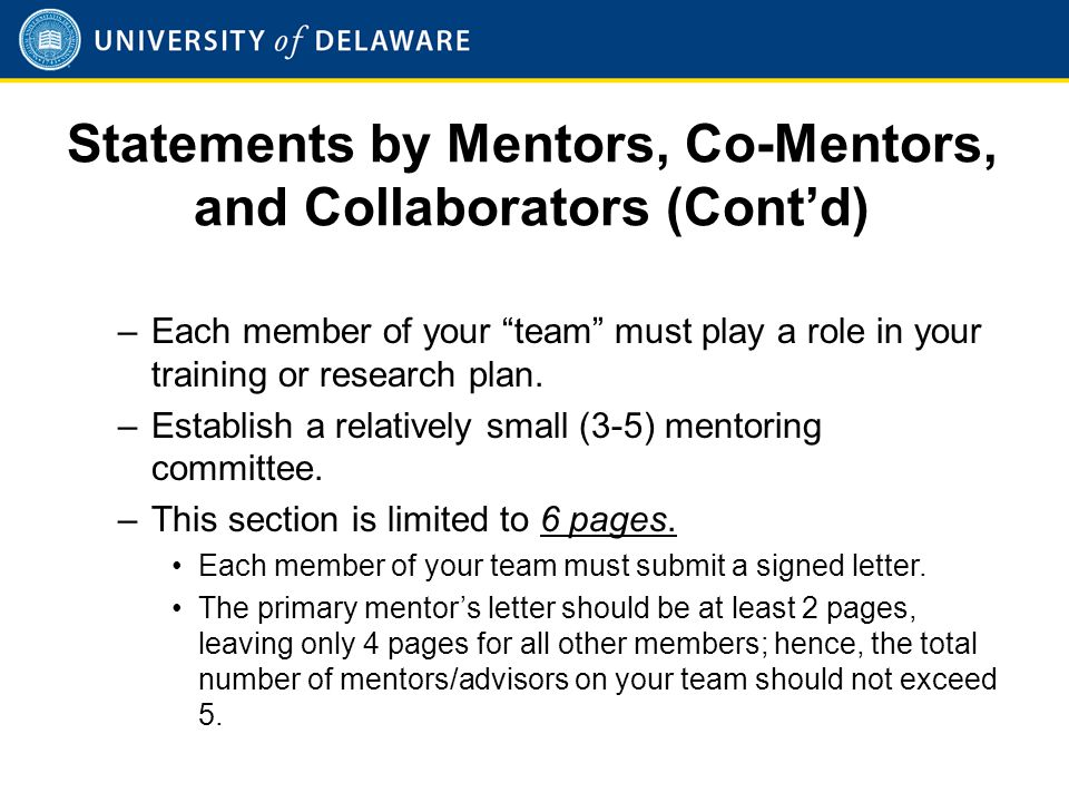 Statements by Mentors, Co-Mentors, and Collaborators