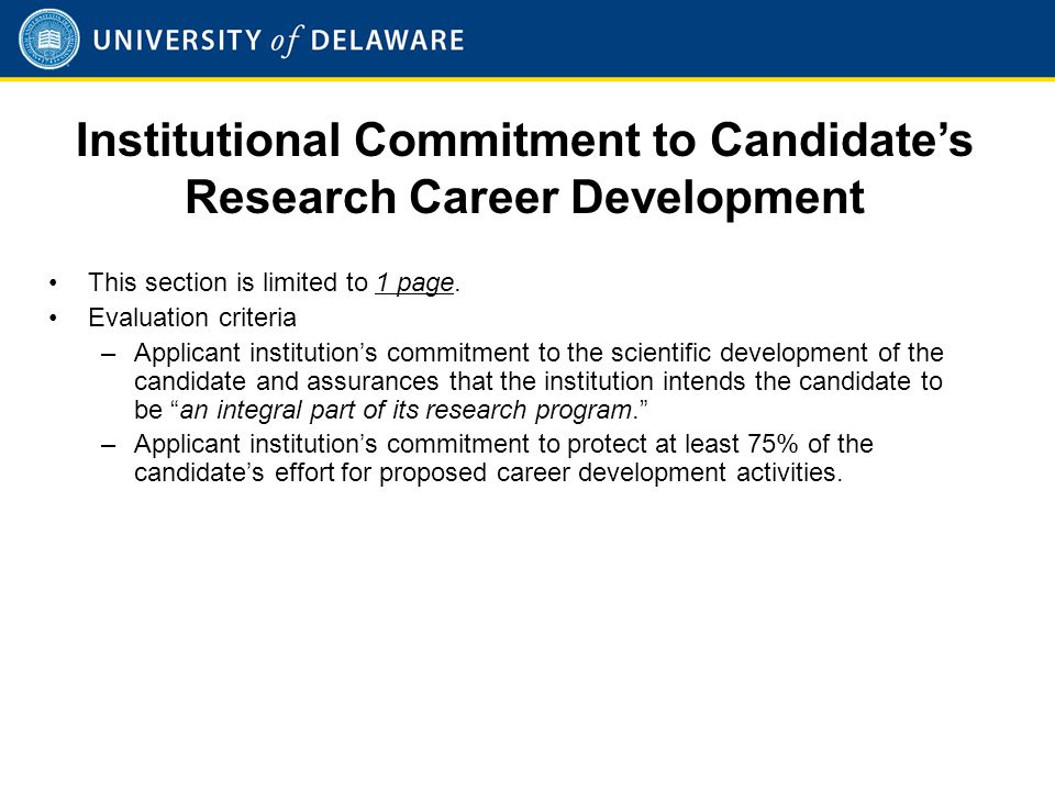 Institutional Commitment to Candidate's Research Career Development (Cont'd)