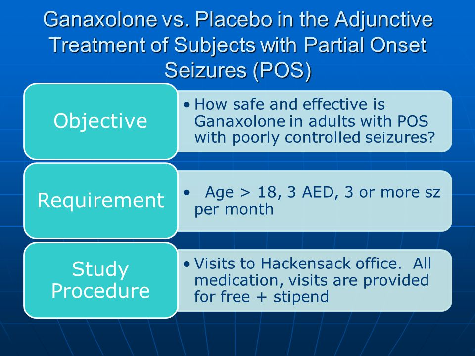 Ganaxolone vs. Placebo in the Adjunctive Treatment of Subjects with Partial Onset Seizures (POS)