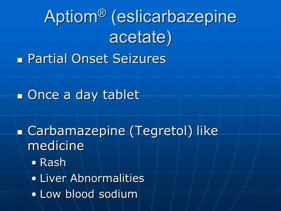 Aptiom® (eslicarbazepine acetate)