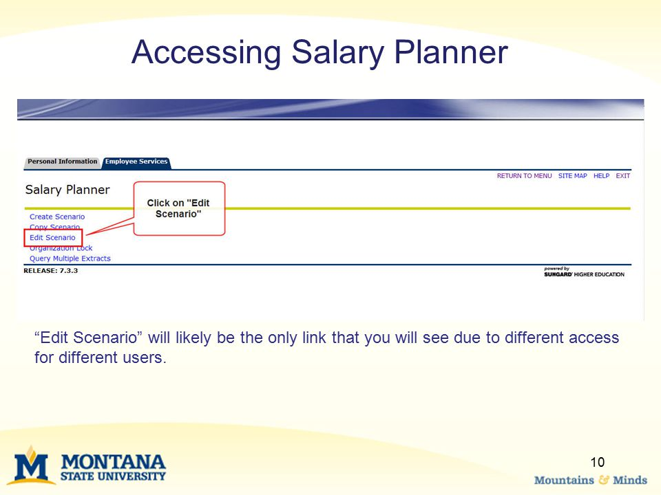 Accessing Salary Planner