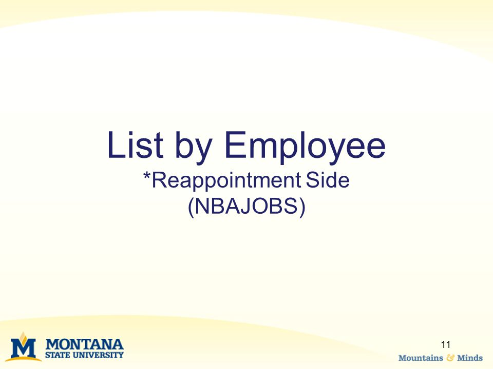 List by Employee *Reappointment Side (NBAJOBS)