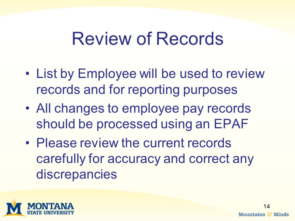Review of Records List by Employee will be used to review records and for reporting purposes.