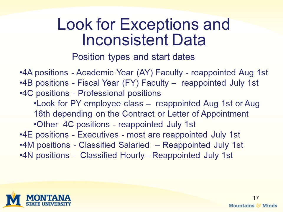 Look for Exceptions and Inconsistent Data